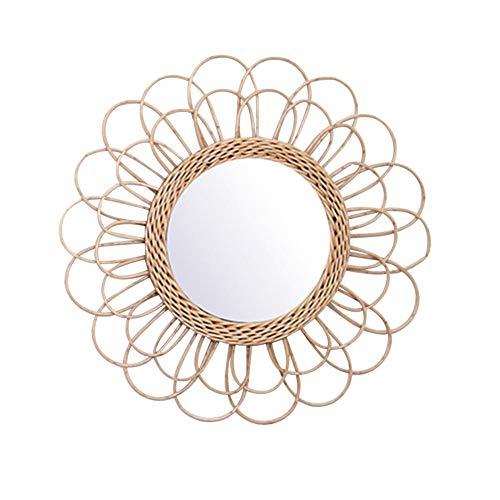Jingolden Rattan Dressing Mirror Innovative Art Deco Round Mirror Home Decoration Equipment -