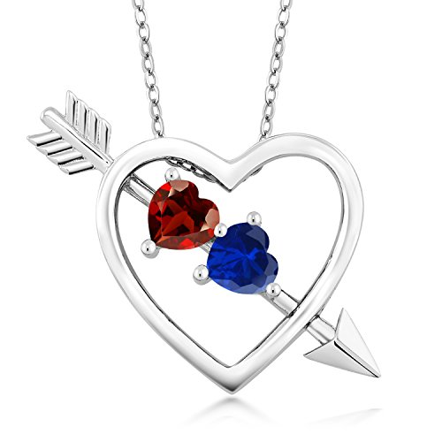 (Gem Stone King 1.16 Ct Red Garnet Blue Simulated Sapphire 925 Sterling Silver Heart and Arrow Pendant)