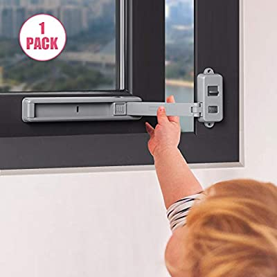 EUDEMON Window Lock Children Protection Window Restrictor Child Safety Window Stopper Falling Prevention Locks Limiter Easy to Install and Use 3M VHB Adhesive no Tools Need or Drill