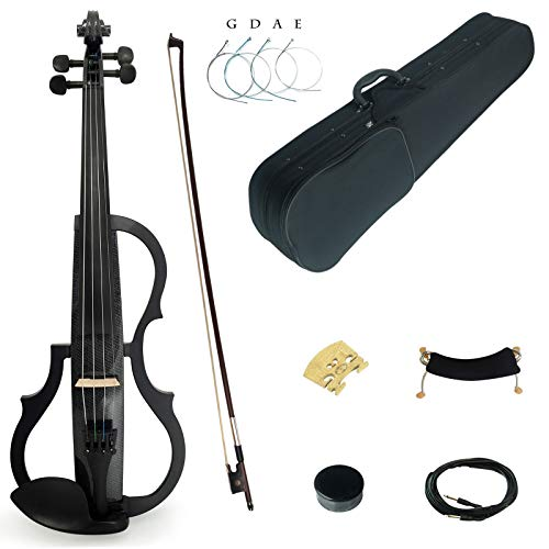 Kinglos 4/4 Black Grid Colored Solid Wood Advanced 3-Band-EQ Electric / Silent Violin Kit with Ebony Fittings Full Size (SDDS1311)