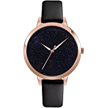 J.Market Quartz Watch Womens 30 Meters Waterproof Lady Watch Creative Starlight Dial with Genuine Leather Band (Black)