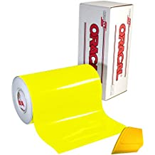 """ORACAL 6510 Fluorescent Yellow Cast Vinyl Wrap 12"""" x 30"""" Roll for Cricut, Silhouette & Cameo Including Hard Yellow Detailer Squeegee (1 Roll Pack)"""