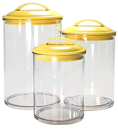 Calypso Basics by Reston Lloyd Acrylic Storage Canisters, Set of 3, Lemon
