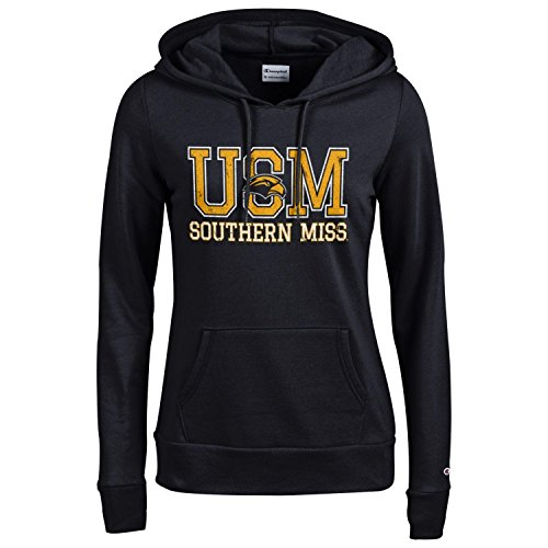 (Champion NCAA Women's Comfy Fitted Sweatshirt University Fleece Hoodie Southern Mississippi Golden Eagles Small)