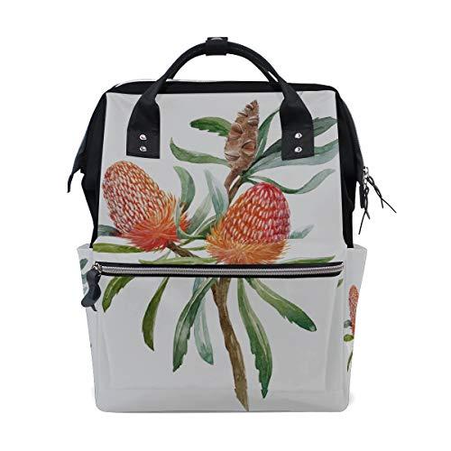 Banksia Flower - Australian Orange Flowers Banksias Large Capacity Diaper Bags Mummy Backpack Multi Functions Nappy Nursing Bag Tote Handbag for Children Baby Care Travel Daily Women