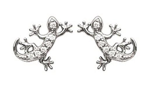 Boucles d'Oreilles en Argent 925/000 Rhodié et Zirconium - Salamandre Lézard Geiko