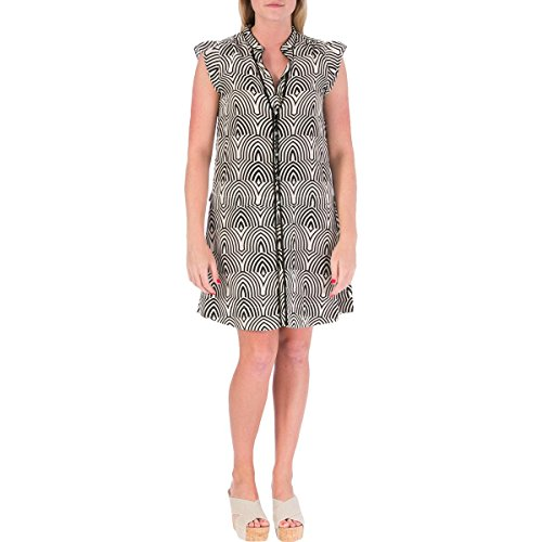 Marc by Marc Jacobs Womens Silk Printed Casual Dress Beige XS (Dress Jacobs Silk Marc)