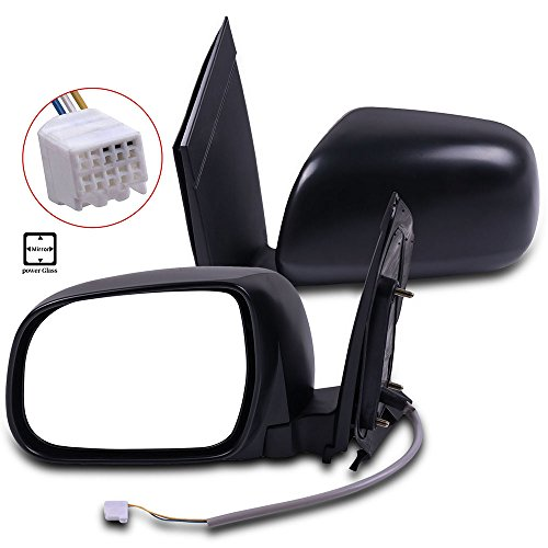 (OCPTY Pair Side Mirrors Fits for 2004-2010 Toyota Sienna Power Adjustment Non-Heated Black Manual Folding Replacement Rear View Door Mirror Left and Right)