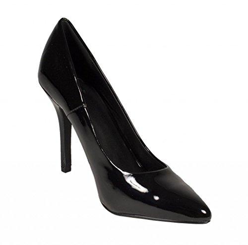 Rendez-vous Amoureux! Mode Féminine Bout Pointu Robe Stiletto Pompe En Cuir Verni Noir
