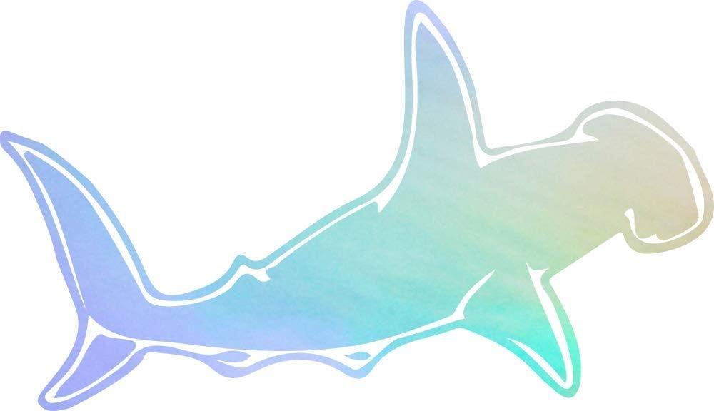 USC DECALS Solid Hammerhead Shark (Hologram) (Set of 2) Premium Waterproof Vinyl Decal Stickers for Laptop Phone Accessory Helmet Car Window Bumper Mug Tuber Cup Door Wall Decoration