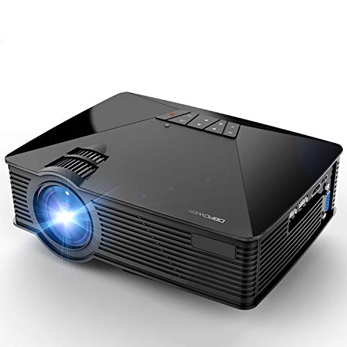 Projector, 2018 Upgraded DBPOWER Mini Projector, 50% Lumens 50000Hours Lamp Life Multimedia Home Theater LED Portable Projector, Support Smartphones/iPad/1080P/HDMI/USB/SD Card/VGA/Laptops/Games