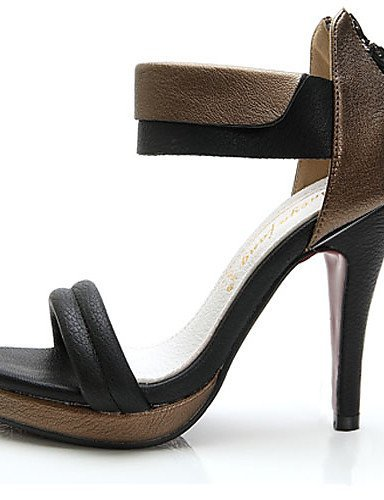 ShangYi Womens Shoes Leather Stiletto Heel Heels/Slingback Sandals Office & Career/Party & Evening/Dress Black/White White