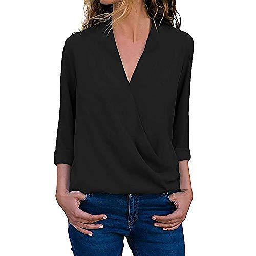 MORCHAN T-Shirt Champion Femmes Dcontracte Emballage Col en V Retrousser Manche Longue Solide Les Blouses Chemises Tops T-Shirt Noir