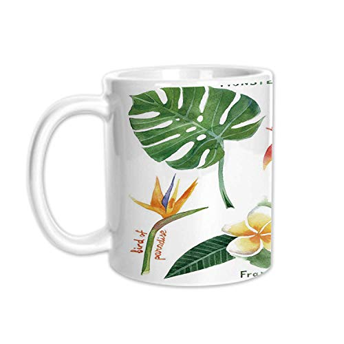 Plant Stylish White Printed Mug,Bird of Paradise Palm Leaf and Assorted Exotic Flowers Watercolor Decorative for Living Room Bedroom,3.1