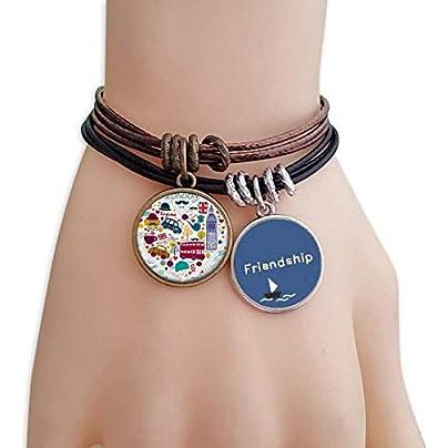 YMNW Love Heart Big Ben Bus Landmark Flag Friendship Bracelet Leather Rope Wristband Couple Set Estimated Price -