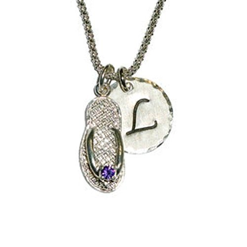 February Amethyst Birthstone CZ Flip Flop Hand Stamped Sterling Silver Initial Charm Necklace ()