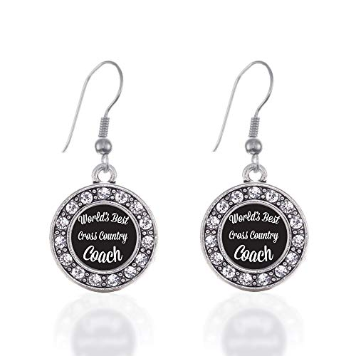 Inspired Silver - World's Best Cross Country Coach Charm Earrings for Women - Silver Circle Charm French Hook Drop Earrings with Cubic Zirconia Jewelry (French Hook Cross Earrings)