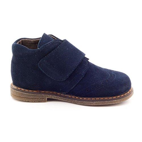 Boni Mini Albert–Zapatos Niño Piel Scratch Daim Bleu Marine