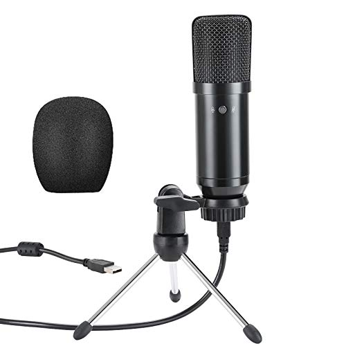 USB Microphone, Metal Condenser Recording Microphone for Streaming, Podcasting, Vocal Recording, Compatible with iMac PC Laptop Desktop Windows Computer
