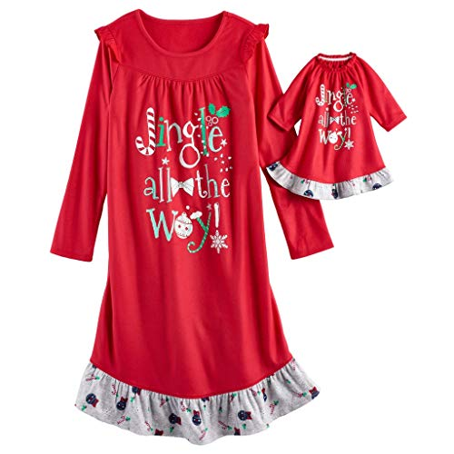SO Christmas Jingle all The Way Nightgown & Doll Gown Pajama Set - Girls 4-14 (XXS (4)) -