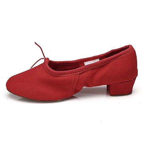 HROYL Mujer Zapatos de Baile Latino/Zapatos de Baile Maestro Cuero/Tela Salón de Baile CT Rojo