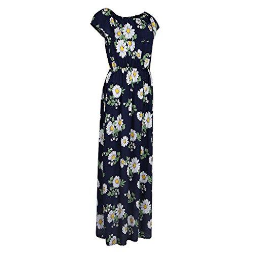 Magideal Vestido Largo Maxi Impresión Floral Sin Tirantes Verano Mujeres Club de Noche Regreso a Casa azul 2