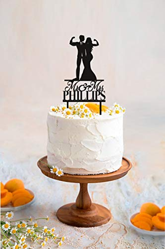 Muscular Wedding Cake Topper Fitness Couple Cake Topper Weight Lifting Groom and Bride Last Name Cake Topper Custom Cake Topper (Weight Lifting Cake Topper)
