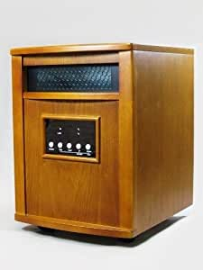 Infrared Quartz 1500 Watt Heater Solid Oak Wooden Cabinet w/ Remote Portable 800 sq ft Space