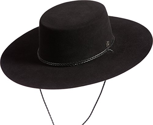 Hat In Spanish (Toledo Wool Felt Gaucho Hat, BLACK, Size 7 1/4)