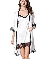 Women O-neck Lace Sexy Nightdress ❀ Ladies Two Piece Sleepwear Set Fashion Nightgown Dress + Solid Lingerie Sling Nightwear