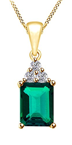 Jewel Zone US Simulated Green Emerald & White Topaz CZ Pendant Necklace in 14k Gold Over Sterling Silver (1.5 Ct)