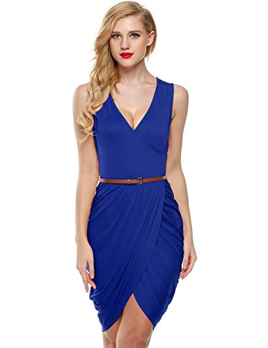 ELESOL Women Wrap Front V Neck Dress Sexy High Slit Ruched Asymmetrical Hem Dress Blue S