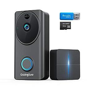 GazingSure Video Doorbell Wireless – 1080P FHD Smart WiFi Door View Home Security Doorbell Camera with Indoor Chime…