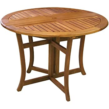 Amazon Com Eucalyptus 43 Inch Round Folding Deck Table