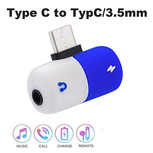 Adapter, Lyperkin Mini Type-C to 3.5mm Audio Converter Charger Splitter Adapter Compatible with Galaxy Note 10/10+