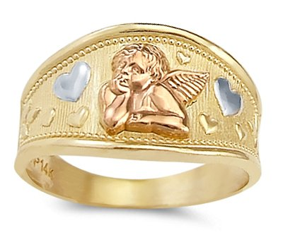 Heart Angel Ring 14k White & Rose & Yellow Gold Band, Size ()