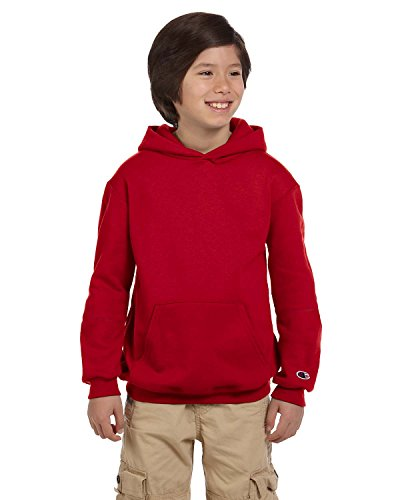 Champion Youth Double Dry Action Fleece Pullover Hood, Scarlet, M