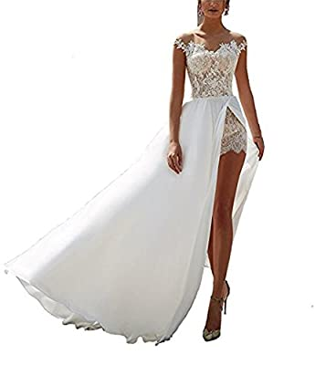 Ellystar Women's A-Line Chiffon Sleeveless Covered Button V Neck Wedding Dresses
