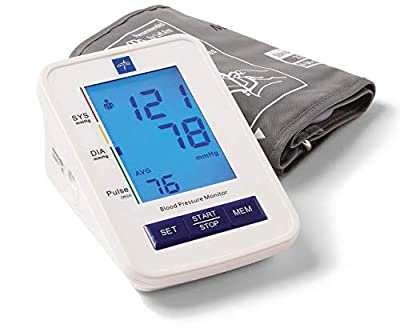 Medline Automatic Digital Blood Pressure Monitor with Standard Adult Cuff for Upper Arm, with Large LED Display, Batteries Included, Great for Home Use, Professional Medical Use