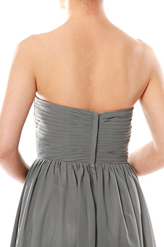 MACloth Women Strapless Chiffon Hi Lo Bridesmaid Dress Wedding Party Formal Gown Gris