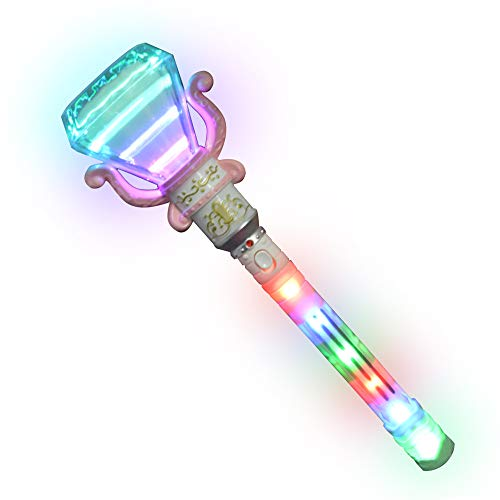 ArtCreativity Multi-Color Spinning Diamond Wand with LED Handle - 13.5 Inch Light Up Princess Wand for Kids - Fun Pretend Play Prop - Batteries Included - Best Birthday Gift for Boys and Girls