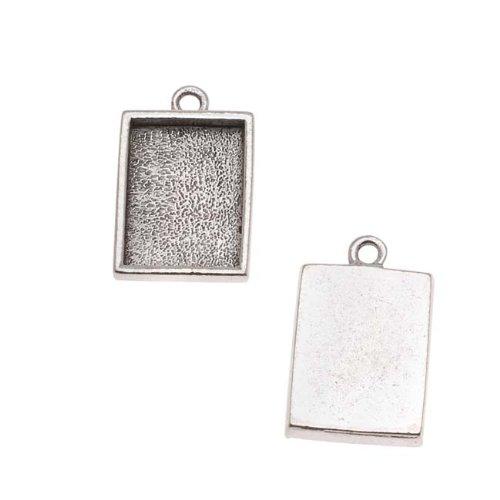 Plated Rectangle Pendant (Nunn Design Antiqued Silver Plated Pewter Pendant Rectangle Bezel 14mm)