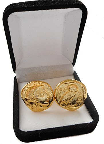 Athena & Owl, Goddess of Wisdom, Coin Cuff Links, Greek Coins, Greek Mythology (12C-G),