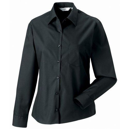 Jerzees - Camisa de trabajo de manga larga de algodón puro para mujer Azul