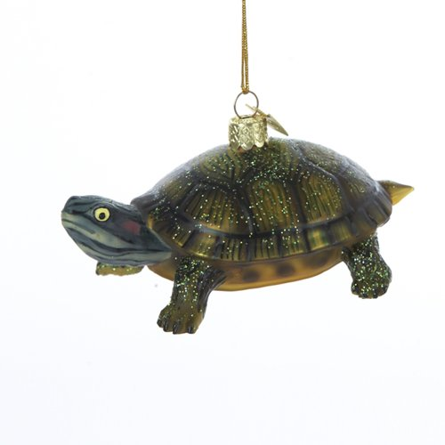 Noble Gems Kurt Adler 4-Inch Glass Land Turtle Ornament