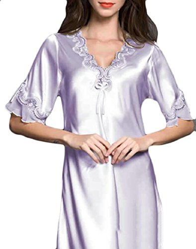 (ZXFHZS Womens Satin Nightgown Chemise 3/4 Sleeve Slip Sleepwear 2 S)