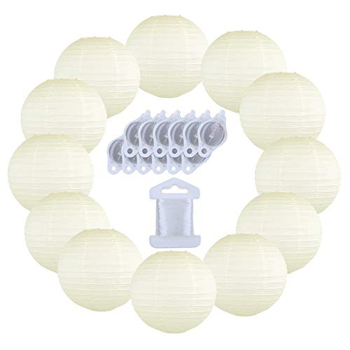 Just Artifacts 12inch Decorative Round Chinese Paper Lanterns 10pcs w/ 12pc LED Lights and Clear String (Color: Ivory)]()
