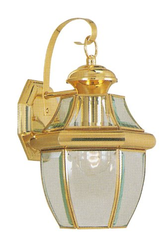 Livex Lighting 2151-02 Monterey 1 Light Outdoor Polished Brass Finish Solid Brass Wall Lantern  with Clear Beveled - Post Large Outdoor Polished Brass