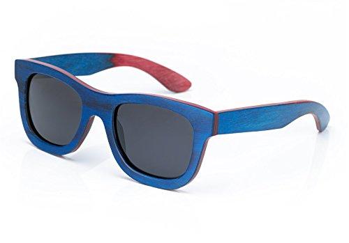 estilo de protección Wayfarer hombre o wooden mujer Infantil universal Polarized blue Gafas box polarizadas wood UV400 retro de de madera bambo bambú unisex sol 4sold 6EWvqFTI