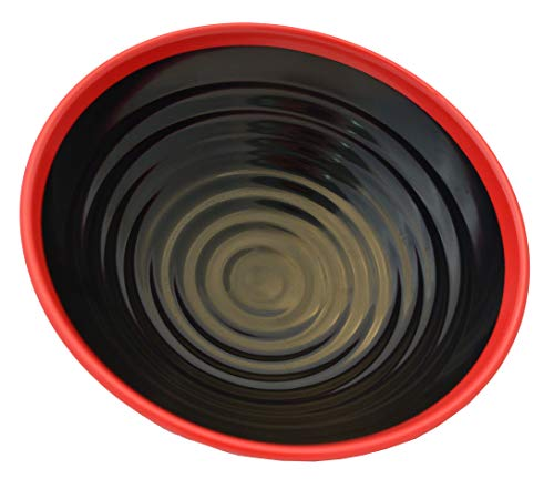 Wonton Noodle Soup Bowl, Red and Black, 9